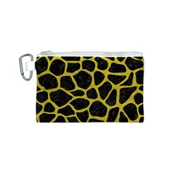 Skin1 Black Marble & Yellow Leather Canvas Cosmetic Bag (s)