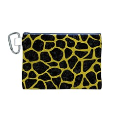 Skin1 Black Marble & Yellow Leather Canvas Cosmetic Bag (m)