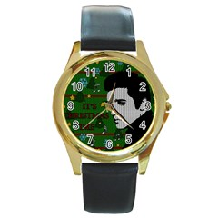 Elvis Presley   Christmas Round Gold Metal Watch