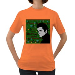 Elvis Presley   Christmas Women s Dark T Shirt