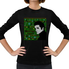 Elvis Presley   Christmas Women s Long Sleeve Dark T Shirts