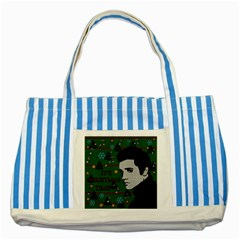 Elvis Presley   Christmas Striped Blue Tote Bag