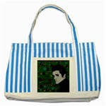 Elvis Presley - Christmas Striped Blue Tote Bag Front
