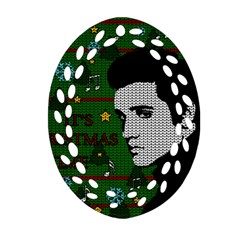Elvis Presley   Christmas Oval Filigree Ornament (two Sides)