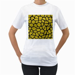 Skin1 Black Marble & Yellow Leather (r) Women s T Shirt (white) (two Sided)