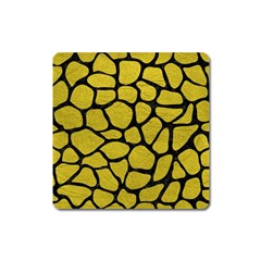 Skin1 Black Marble & Yellow Leather (r) Square Magnet