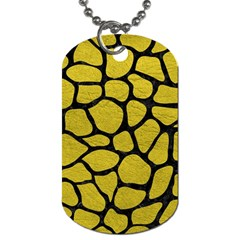 Skin1 Black Marble & Yellow Leather (r) Dog Tag (one Side)