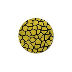 Skin1 Black Marble & Yellow Leather (r) Golf Ball Marker (4 Pack)
