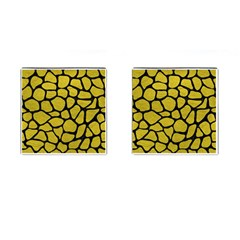 Skin1 Black Marble & Yellow Leather (r) Cufflinks (square)