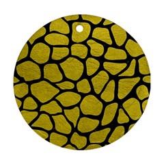 Skin1 Black Marble & Yellow Leather (r) Round Ornament (two Sides)