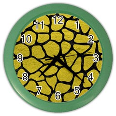Skin1 Black Marble & Yellow Leather (r) Color Wall Clocks