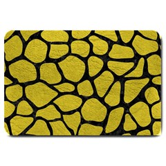 Skin1 Black Marble & Yellow Leather (r) Large Doormat