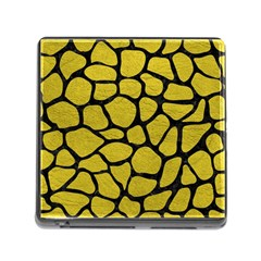 Skin1 Black Marble & Yellow Leather (r) Memory Card Reader (square)