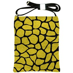 Skin1 Black Marble & Yellow Leather (r) Shoulder Sling Bags