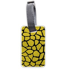 Skin1 Black Marble & Yellow Leather (r) Luggage Tags (two Sides)