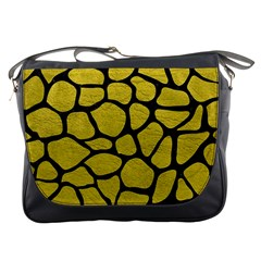 Skin1 Black Marble & Yellow Leather (r) Messenger Bags