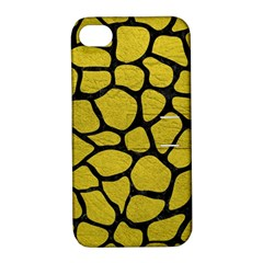 Skin1 Black Marble & Yellow Leather (r) Apple Iphone 4/4s Hardshell Case With Stand