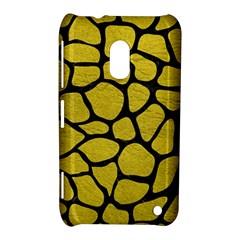 Skin1 Black Marble & Yellow Leather (r) Nokia Lumia 620