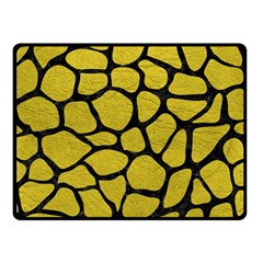 Skin1 Black Marble & Yellow Leather (r) Double Sided Fleece Blanket (small)