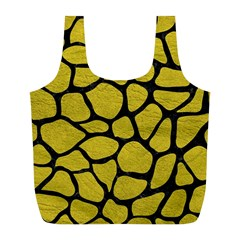 Skin1 Black Marble & Yellow Leather (r) Full Print Recycle Bags (l)