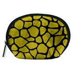 SKIN1 BLACK MARBLE & YELLOW LEATHER (R) Accessory Pouches (Medium)  Front
