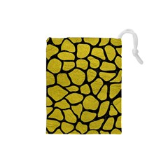 Skin1 Black Marble & Yellow Leather (r) Drawstring Pouches (small)