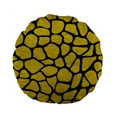 Skin1 Black Marble & Yellow Leather (r) Standard 15  Premium Flano Round Cushions