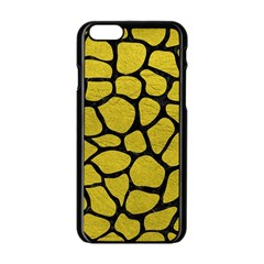 Skin1 Black Marble & Yellow Leather (r) Apple Iphone 6/6s Black Enamel Case