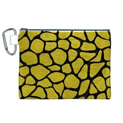 Skin1 Black Marble & Yellow Leather (r) Canvas Cosmetic Bag (xl)