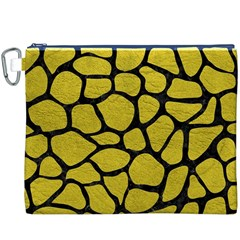 Skin1 Black Marble & Yellow Leather (r) Canvas Cosmetic Bag (xxxl)