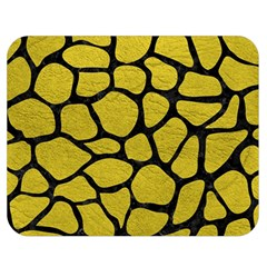 Skin1 Black Marble & Yellow Leather (r) Double Sided Flano Blanket (medium)