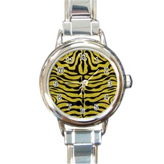Skin2 Black Marble & Yellow Leather Round Italian Charm Watch
