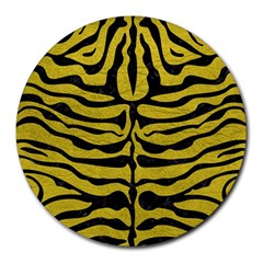 Skin2 Black Marble & Yellow Leather Round Mousepads