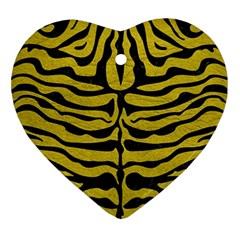 Skin2 Black Marble & Yellow Leather Ornament (heart)