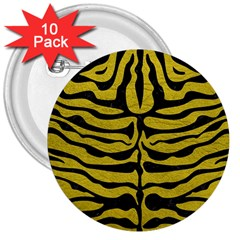 Skin2 Black Marble & Yellow Leather 3  Buttons (10 Pack)