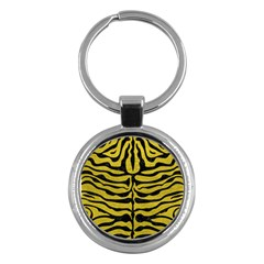 Skin2 Black Marble & Yellow Leather Key Chains (round)