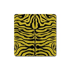Skin2 Black Marble & Yellow Leather Square Magnet