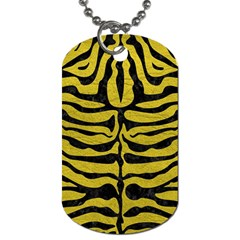 Skin2 Black Marble & Yellow Leather Dog Tag (two Sides)