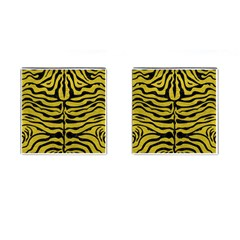 Skin2 Black Marble & Yellow Leather Cufflinks (square)