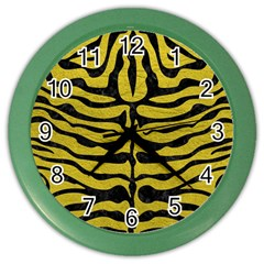 Skin2 Black Marble & Yellow Leather Color Wall Clocks