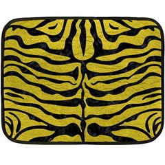 Skin2 Black Marble & Yellow Leather Fleece Blanket (mini)
