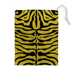 Skin2 Black Marble & Yellow Leather Drawstring Pouches (extra Large)