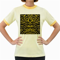 Skin2 Black Marble & Yellow Leather (r) Women s Fitted Ringer T Shirts