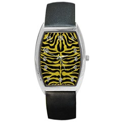 Skin2 Black Marble & Yellow Leather (r) Barrel Style Metal Watch