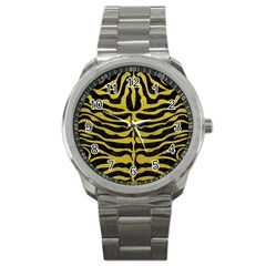 Skin2 Black Marble & Yellow Leather (r) Sport Metal Watch