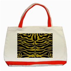 Skin2 Black Marble & Yellow Leather (r) Classic Tote Bag (red)