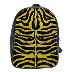 Skin2 Black Marble & Yellow Leather (r) School Bag (large)