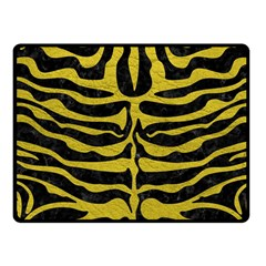 Skin2 Black Marble & Yellow Leather (r) Fleece Blanket (small)
