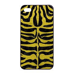 Skin2 Black Marble & Yellow Leather (r) Apple Iphone 4/4s Seamless Case (black)