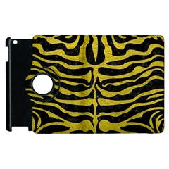 Skin2 Black Marble & Yellow Leather (r) Apple Ipad 3/4 Flip 360 Case